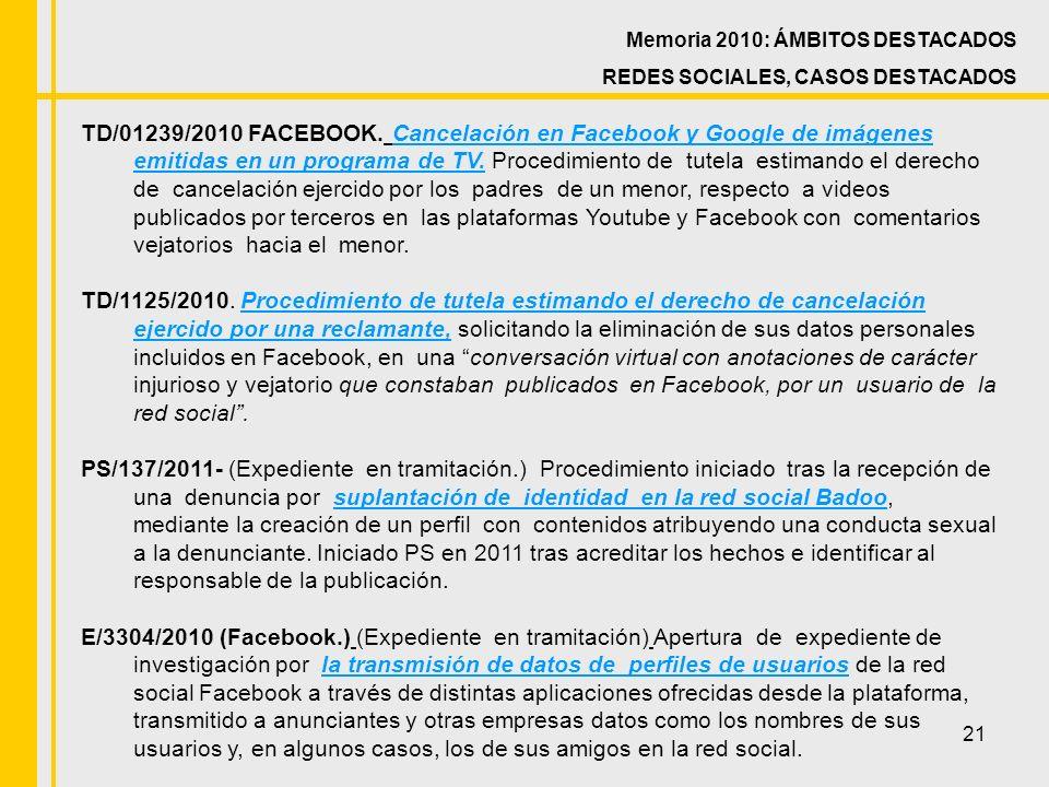 21 Memoria 2010: ÁMBITOS DESTACADOS REDES SOCIALES, CASOS DESTACADOS TD/01239/2010 FACEBOOK.
