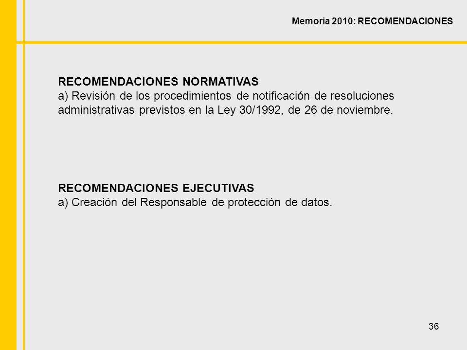 36 RECOMENDACIONES NORMATIVAS a) Revisión de los procedimientos de notificación de resoluciones administrativas previstos en la Ley 30/1992, de 26 de noviembre.