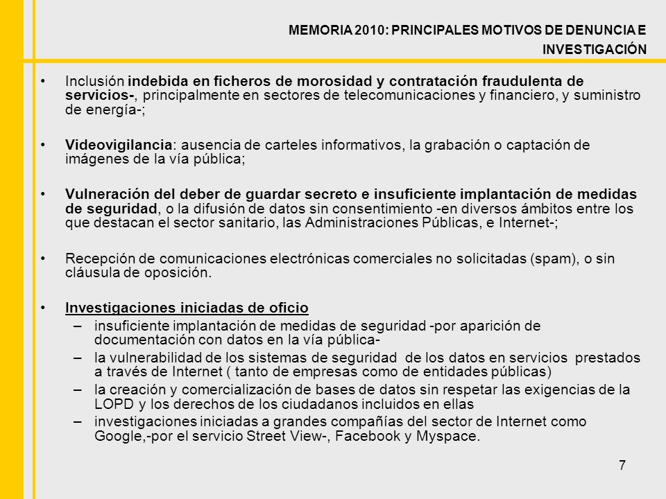 28 Datos por comunidades autónomas Memoria 2010: INSPECCIÓN HOSPITALES
