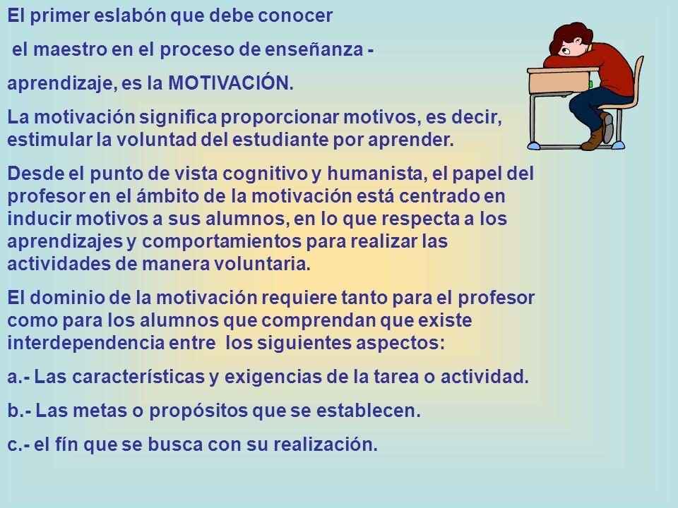 El primer eslabón que debe conocer el maestro en el proceso de enseñanza - aprendizaje, es la MOTIVACIÓN. La motivación significa proporcionar motivos