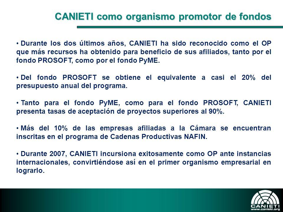 CANIETI como organismo promotor de fondos Durante los dos últimos años, CANIETI ha sido reconocido como el OP que más recursos ha obtenido para benefi
