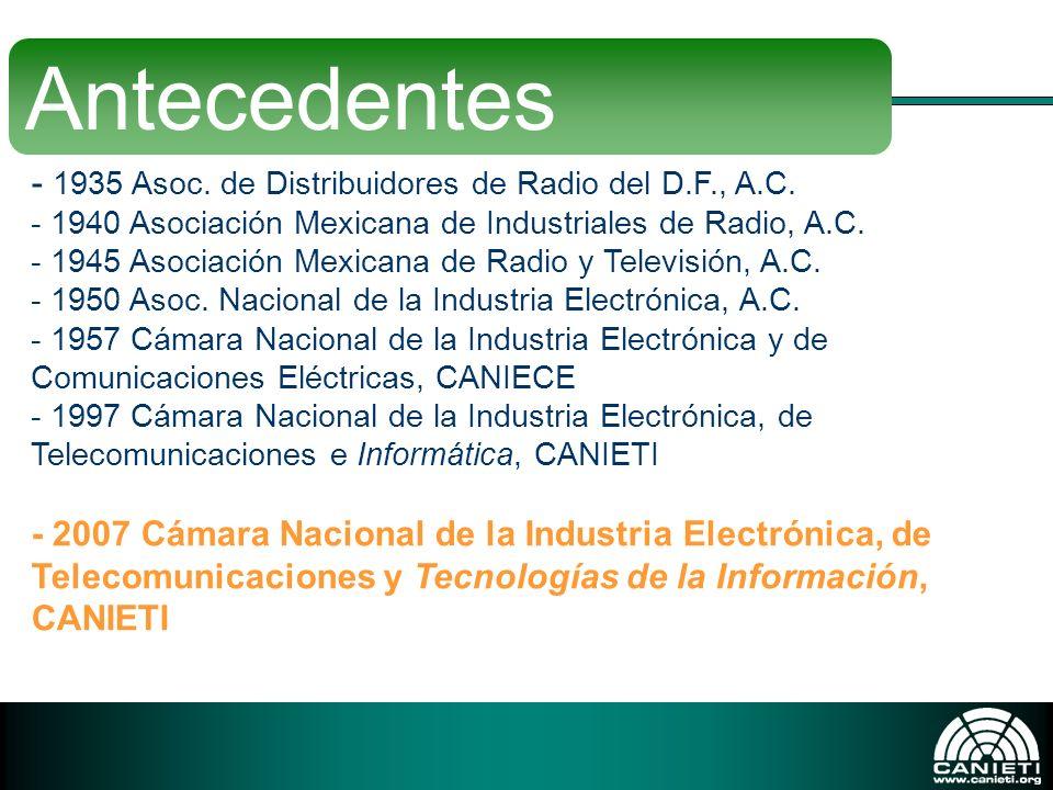- 1935 Asoc. de Distribuidores de Radio del D.F., A.C. - 1940 Asociación Mexicana de Industriales de Radio, A.C. - 1945 Asociación Mexicana de Radio y
