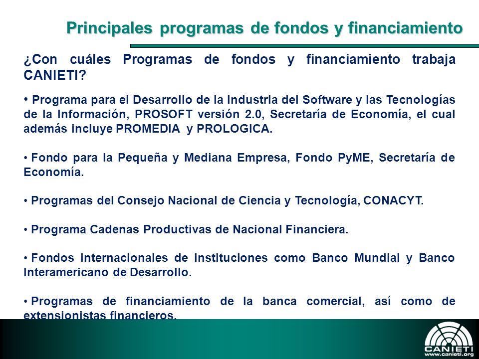 ¿Con cuáles Programas de fondos y financiamiento trabaja CANIETI? Programa para el Desarrollo de la Industria del Software y las Tecnologías de la Inf