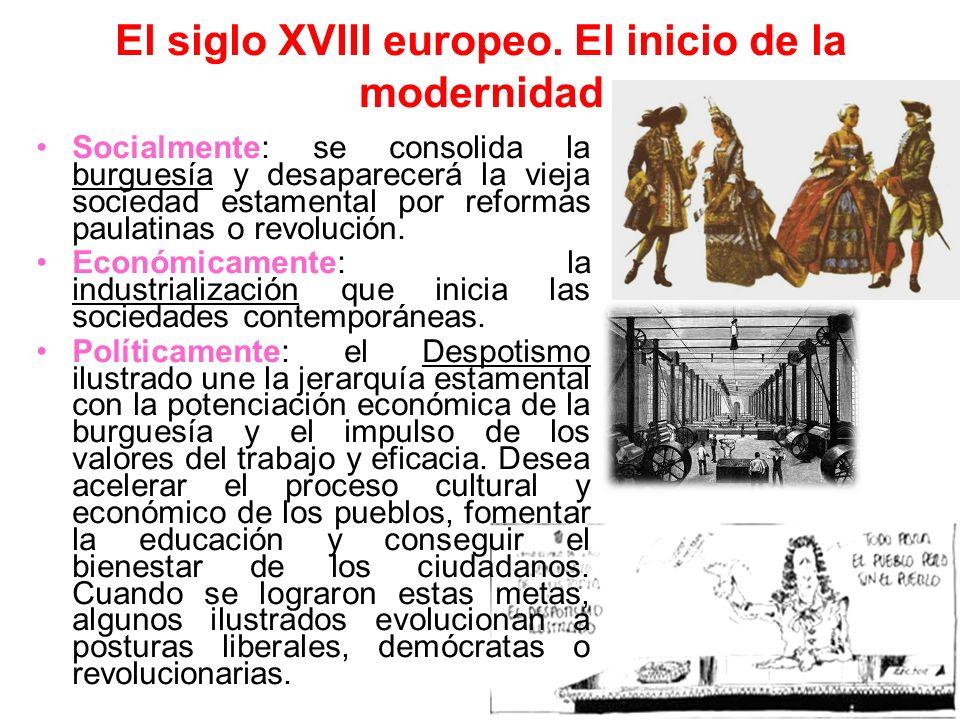El siglo XVIII europeo. El inicio de la modernidad Socialmente: se consolida la burguesía y desaparecerá la vieja sociedad estamental por reformas pau