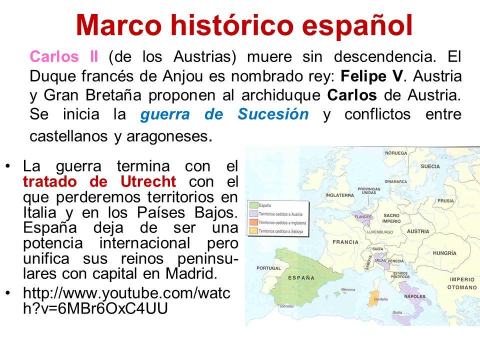 Marco histórico español La guerra termina con el tratado de Utrecht con el que perderemos territorios en Italia y en los Países Bajos. España deja de
