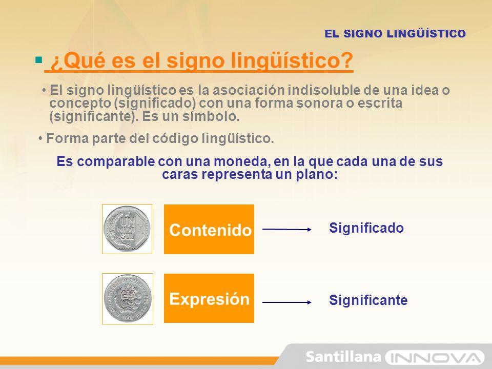 Características del signo lingüístico EL SIGNO LINGÜÍSTICO Biplánico Tiene dos planos: Plano del contenido: SIGNIFICADO Plano de la expresión: SIGNIFICANTE /árbol/