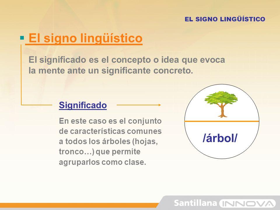 El signo lingüístico EL SIGNO LINGÜÍSTICO Significado En este caso es el conjunto de características comunes a todos los árboles (hojas, tronco…) que