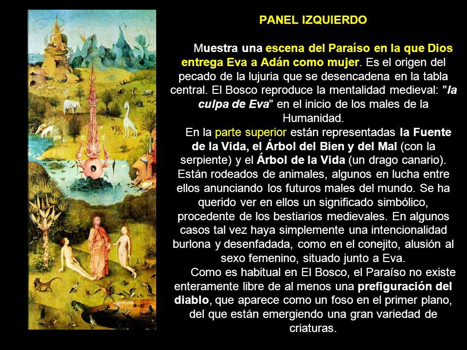 PANEL IZQUIERDO Muestra una escena del Paraíso en la que Dios entrega Eva a Adán como mujer. Es el origen del pecado de la lujuria que se desencadena