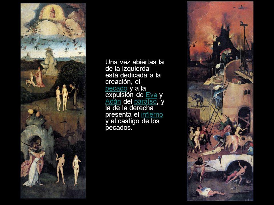 Una vez abiertas la de la izquierda está dedicada a la creación, el pecado y a la expulsión de Eva y Adán del paraíso, y la de la derecha presenta el