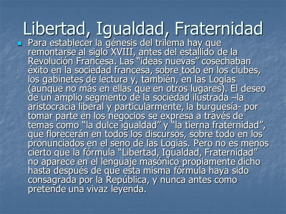 Libertad, Igualdad, Fraternidad Para establecer la génesis del trilema hay que remontarse al siglo XVIII, antes del estallido de la Revolución Frances