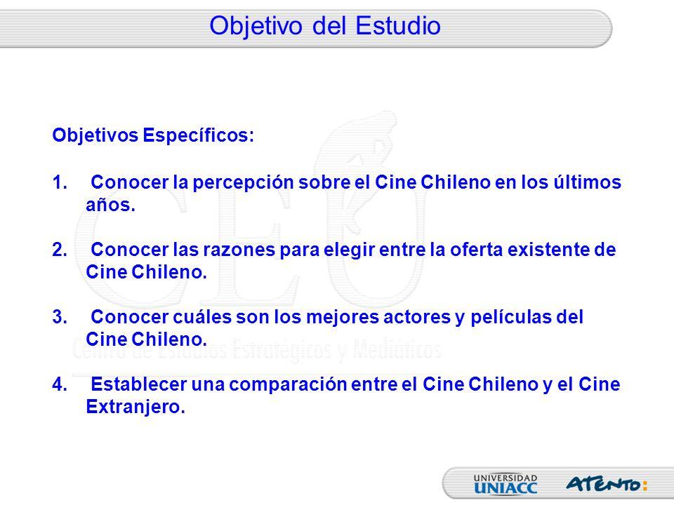Objetivo del Estudio Objetivos Específicos: 1. Conocer la percepción sobre el Cine Chileno en los últimos años. 2. Conocer las razones para elegir ent