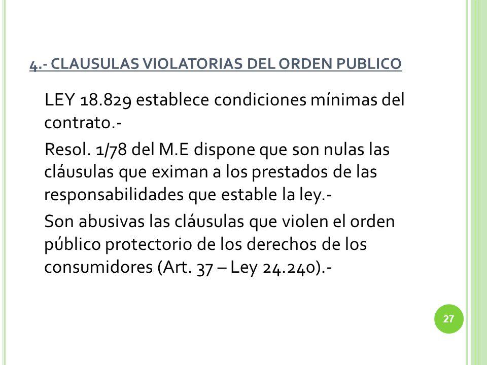 4.- CLAUSULAS VIOLATORIAS DEL ORDEN PUBLICO LEY 18.829 establece condiciones mínimas del contrato.- Resol. 1/78 del M.E dispone que son nulas las cláu