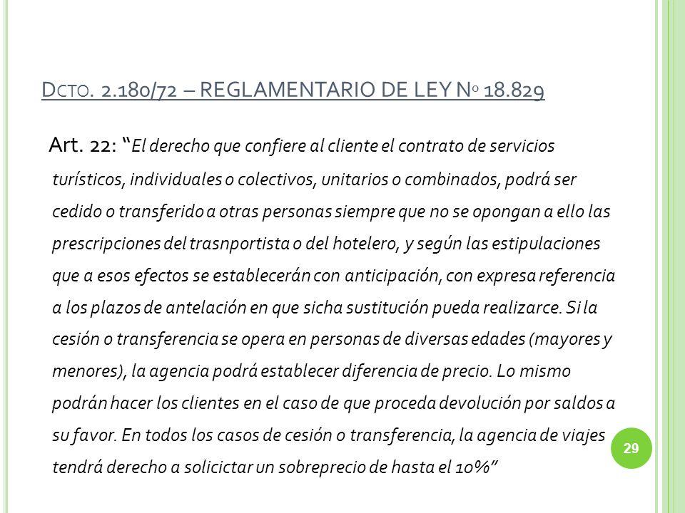 D CTO. 2.180/72 – REGLAMENTARIO DE LEY N º 18.829 Art. 22: El derecho que confiere al cliente el contrato de servicios turísticos, individuales o cole