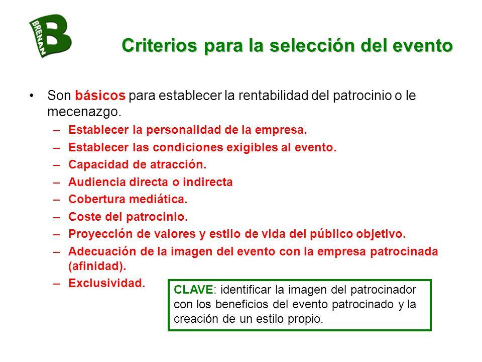 Criterios para la selección del evento Son básicos para establecer la rentabilidad del patrocinio o le mecenazgo. –Establecer la personalidad de la em