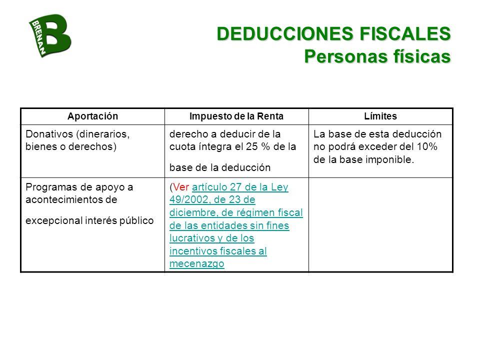 DEDUCCIONES FISCALES Personas físicas AportaciónImpuesto de la RentaLímites Donativos (dinerarios, bienes o derechos) derecho a deducir de la cuota ín