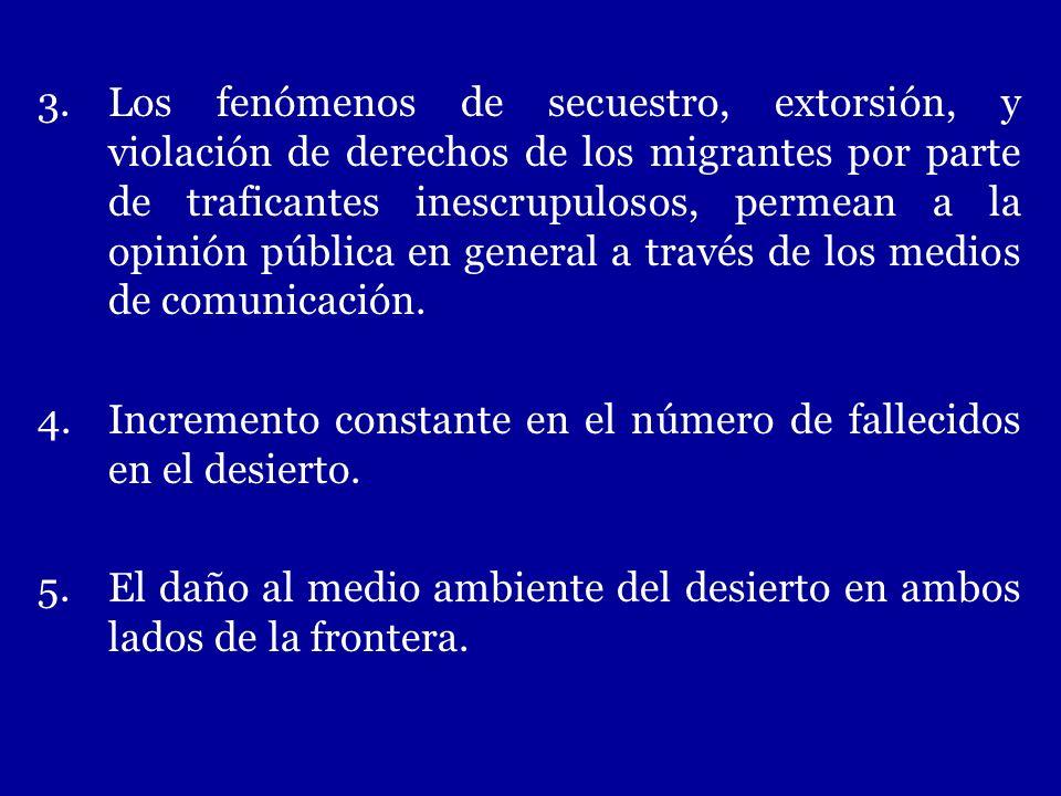 3.Los fenómenos de secuestro, extorsión, y violación de derechos de los migrantes por parte de traficantes inescrupulosos, permean a la opinión públic
