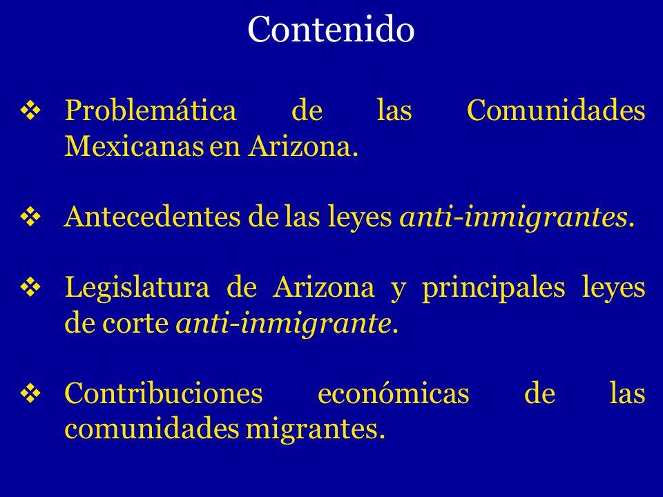 Contenido Problemática de las Comunidades Mexicanas en Arizona. Antecedentes de las leyes anti-inmigrantes. Legislatura de Arizona y principales leyes
