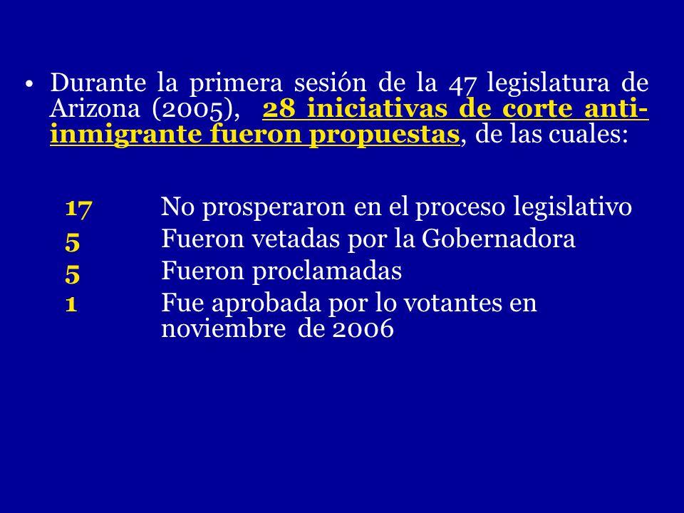 Durante la primera sesión de la 47 legislatura de Arizona (2005), 28 iniciativas de corte anti- inmigrante fueron propuestas, de las cuales: 17 No pro