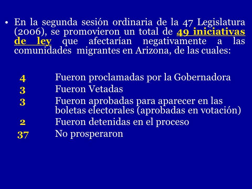 En la segunda sesión ordinaria de la 47 Legislatura (2006), se promovieron un total de 49 iniciativas de ley que afectarían negativamente a las comuni