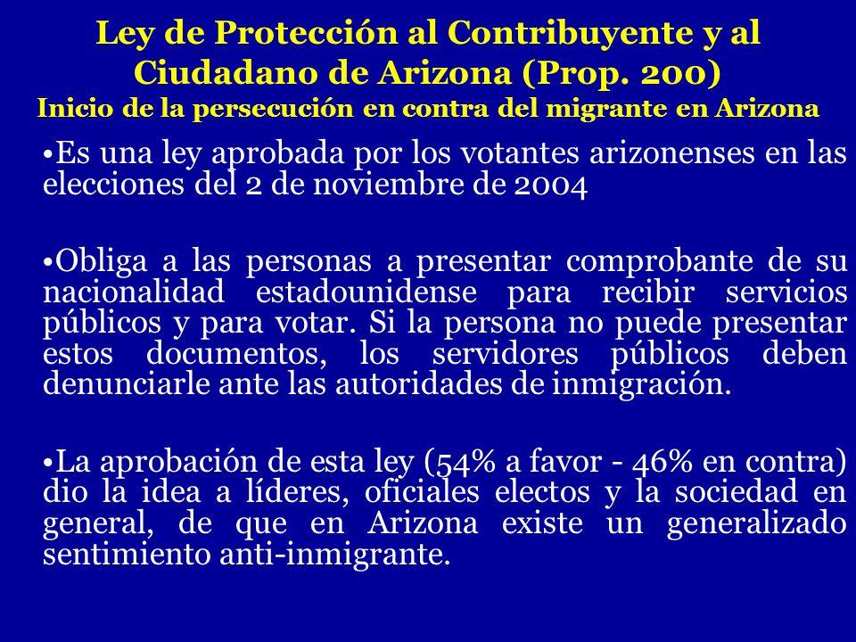 Es una ley aprobada por los votantes arizonenses en las elecciones del 2 de noviembre de 2004 Obliga a las personas a presentar comprobante de su naci
