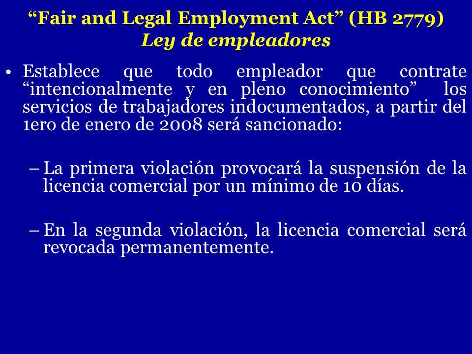 Establece que todo empleador que contrate intencionalmente y en pleno conocimiento los servicios de trabajadores indocumentados, a partir del 1ero de