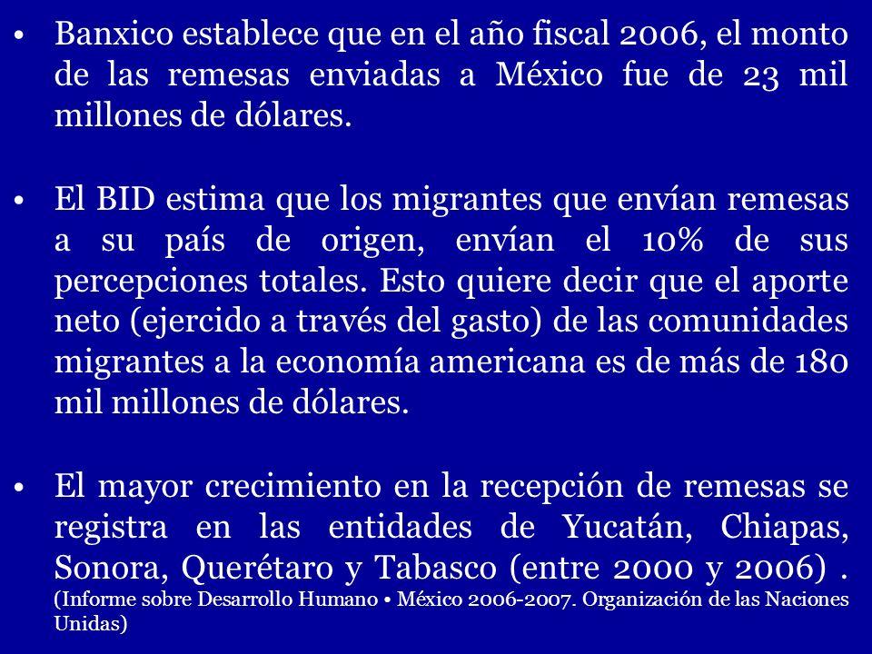 Banxico establece que en el año fiscal 2006, el monto de las remesas enviadas a México fue de 23 mil millones de dólares. El BID estima que los migran