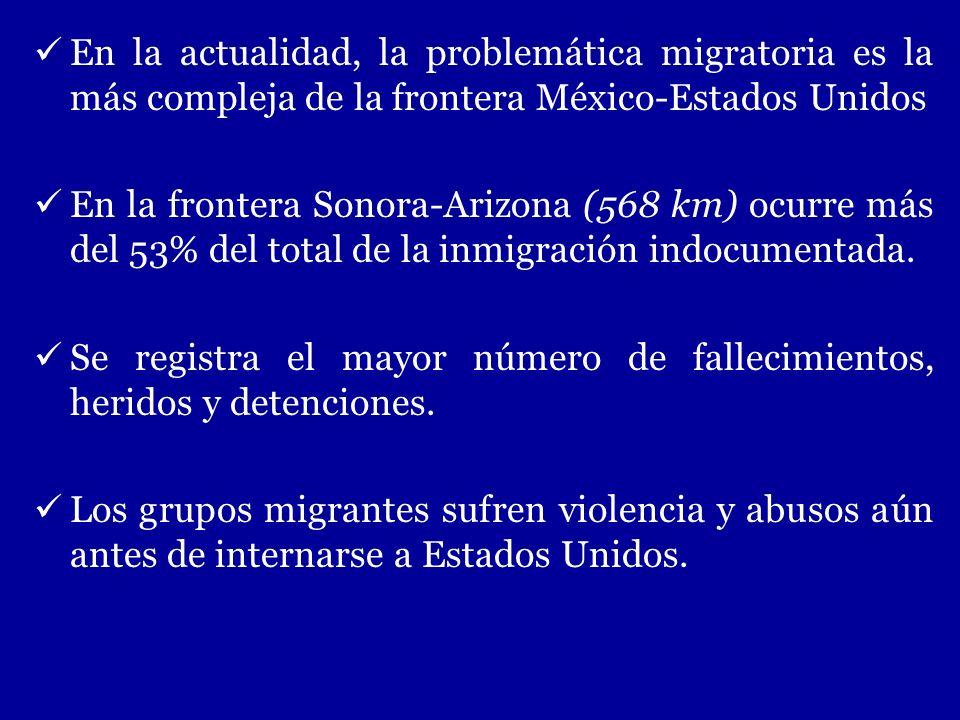 En la actualidad, la problemática migratoria es la más compleja de la frontera México-Estados Unidos En la frontera Sonora-Arizona (568 km) ocurre más