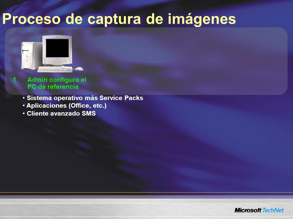 Proceso de captura de imágenes 1.Admin configura el PC de referencia Sistema operativo más Service Packs Aplicaciones (Office, etc.) Cliente avanzado