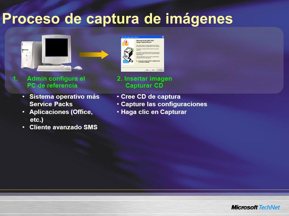 Proceso de captura de imágenes 1.Admin configura el PC de referencia 2. Insertar imagen Capturar CD Sistema operativo más Service Packs Aplicaciones (