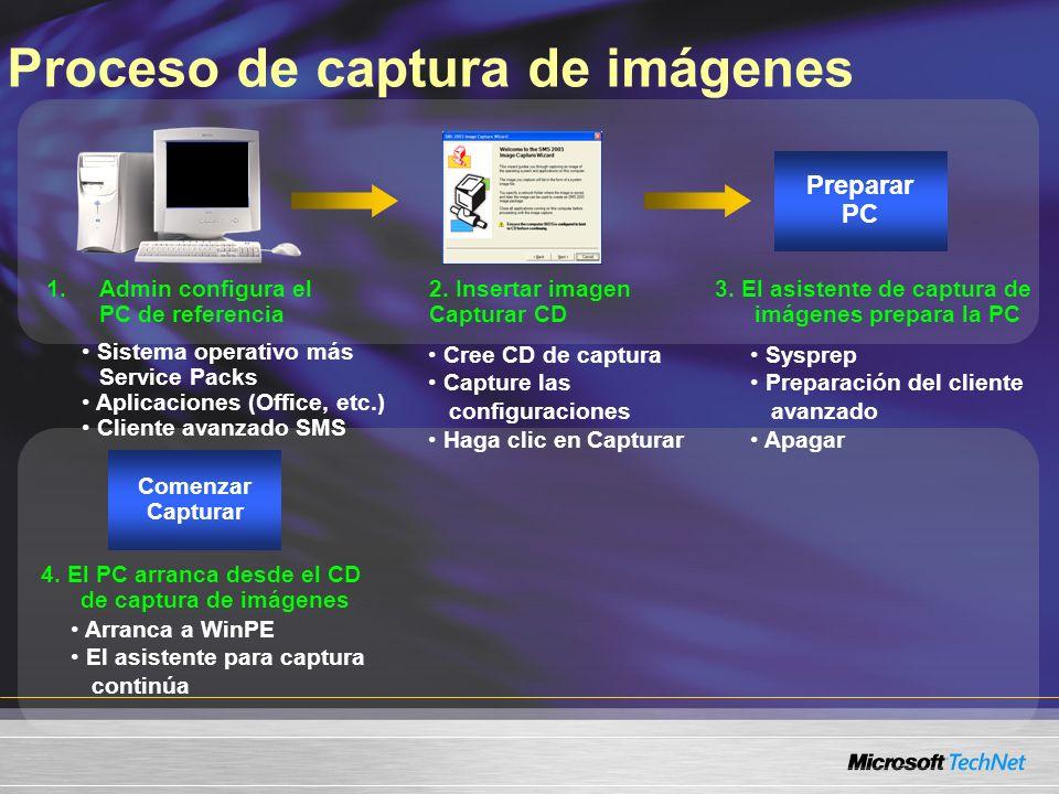 Proceso de captura de imágenes Comenzar Capturar Arranca a WinPE El asistente para captura continúa 4. El PC arranca desde el CD de captura de imágene