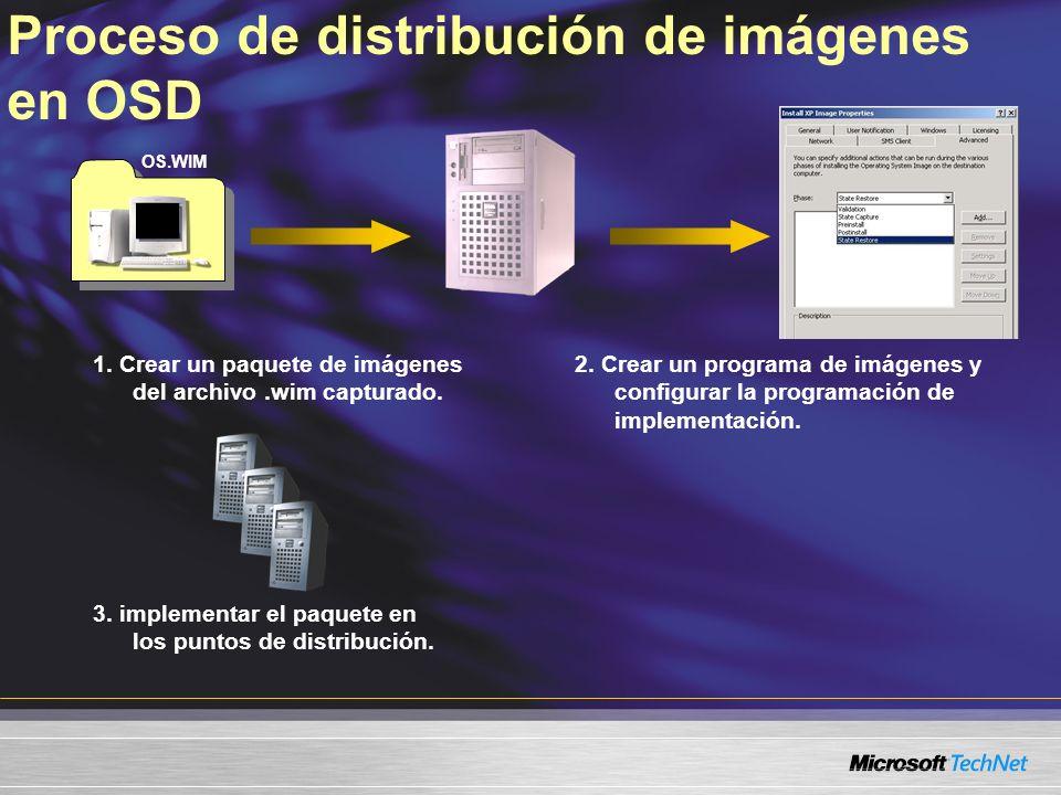 Proceso de distribución de imágenes en OSD 1. Crear un paquete de imágenes del archivo.wim capturado. 2. Crear un programa de imágenes y configurar la