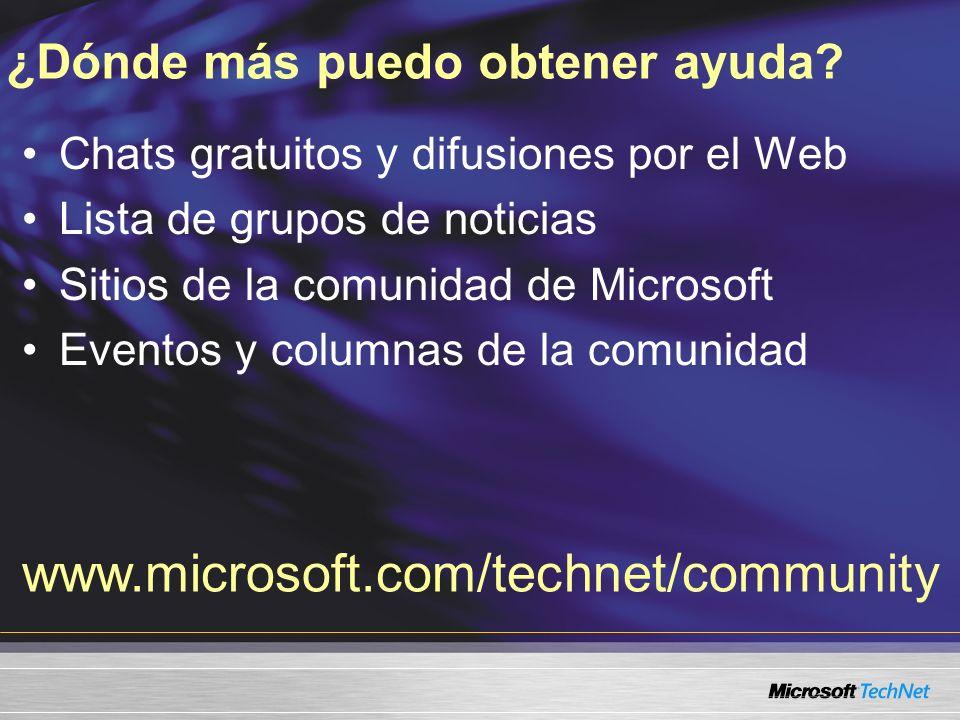 ¿Dónde más puedo obtener ayuda? Chats gratuitos y difusiones por el Web Lista de grupos de noticias Sitios de la comunidad de Microsoft Eventos y colu