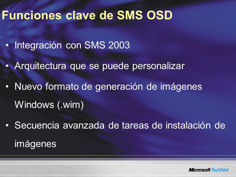 Funciones clave de SMS OSD Integración con SMS 2003 Arquitectura que se puede personalizar Nuevo formato de generación de imágenes Windows (.wim) Secu