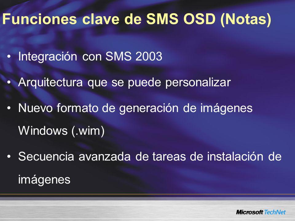 Funciones clave de SMS OSD (Notas) Integración con SMS 2003 Arquitectura que se puede personalizar Nuevo formato de generación de imágenes Windows (.w