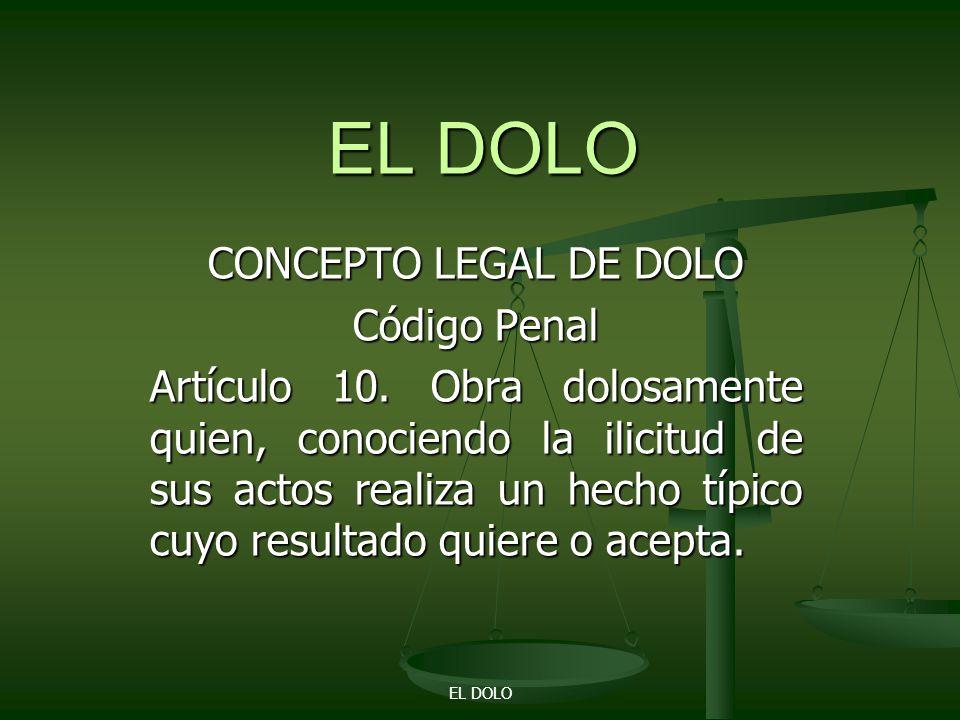 CONCEPTO LEGAL DE DOLO Código Penal Artículo 10.