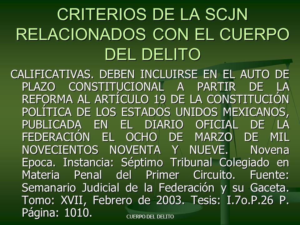 CUERPO DEL DELITO CODIGO DE PROCEDIMIENTOS PENALES PARA EL D.F. Artículo 122. El ministerio publico acreditara el cuerpo del delito de que se trate y