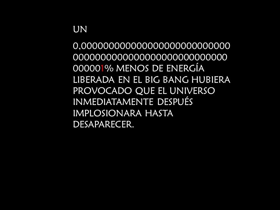 UN 0,000000000000000000000000000 0000000000000000000000000000 000001% MENOS DE ENERGÍA LIBERADA EN EL BIG BANG HUBIERA PROVOCADO QUE EL UNIVERSO INMED