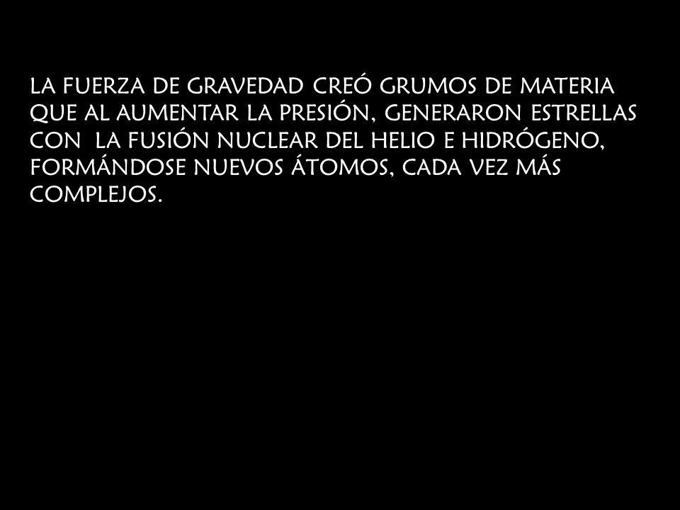 LA FUERZA DE GRAVEDAD CREÓ GRUMOS DE MATERIA QUE AL AUMENTAR LA PRESIÓN, GENERARON ESTRELLAS CON LA FUSIÓN NUCLEAR DEL HELIO E HIDRÓGENO, FORMÁNDOSE N