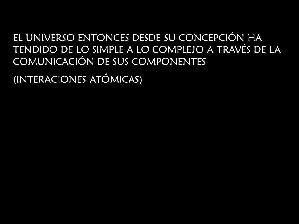 EL UNIVERSO ENTONCES DESDE SU CONCEPCIÓN HA TENDIDO DE LO SIMPLE A LO COMPLEJO A TRAVÉS DE LA COMUNICACIÓN DE SUS COMPONENTES (INTERACIONES ATÓMICAS)
