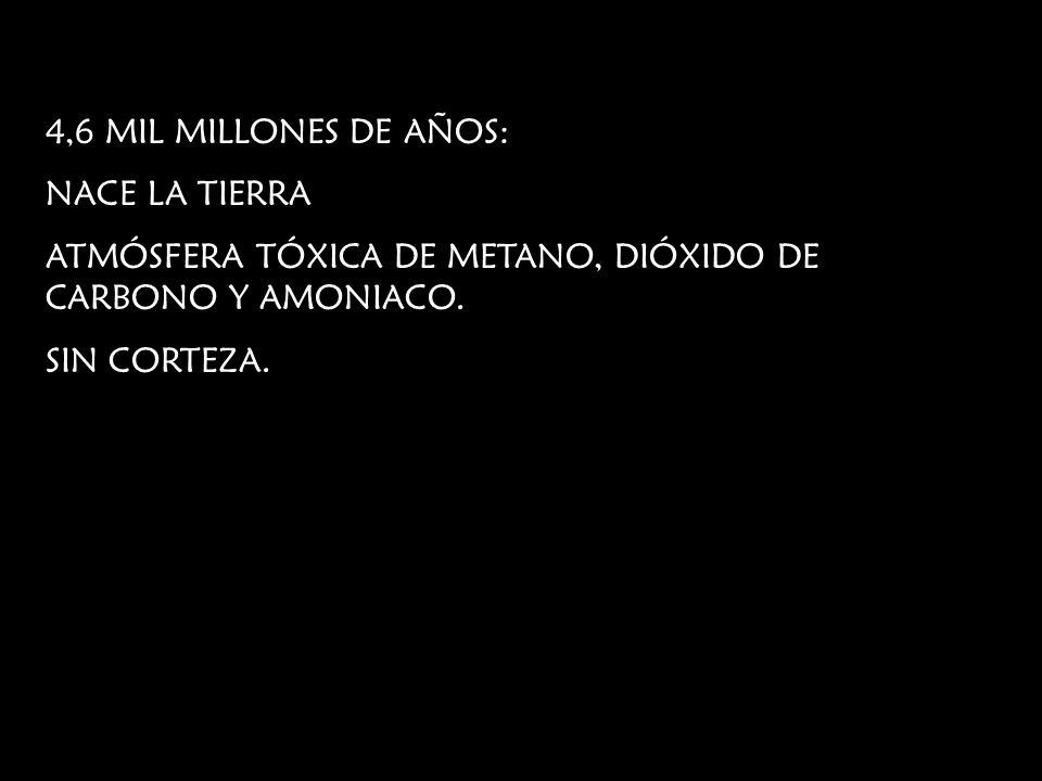 4,6 MIL MILLONES DE AÑOS: NACE LA TIERRA ATMÓSFERA TÓXICA DE METANO, DIÓXIDO DE CARBONO Y AMONIACO. SIN CORTEZA.