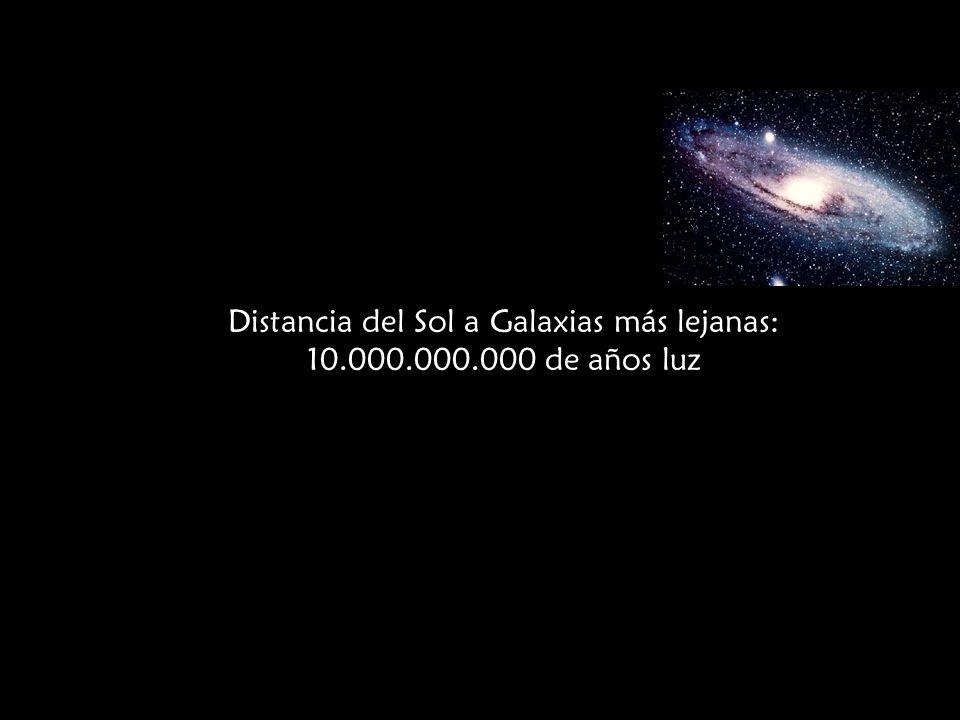 Distancia De la Tierra a la Galaxia Andrómeda: 2.000.000 de años luz. Distancia del Sol a Galaxias más lejanas: 10.000.000.000 de años luz Galaxias en