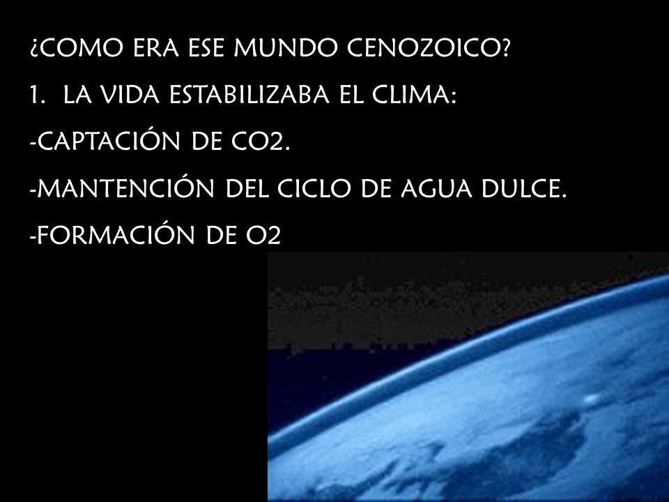 ¿COMO ERA ESE MUNDO CENOZOICO? 1.LA VIDA ESTABILIZABA EL CLIMA: -CAPTACIÓN DE CO2. -MANTENCIÓN DEL CICLO DE AGUA DULCE. -FORMACIÓN DE O2