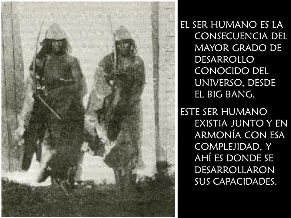 EL SER HUMANO ES LA CONSECUENCIA DEL MAYOR GRADO DE DESARROLLO CONOCIDO DEL UNIVERSO, DESDE EL BIG BANG. ESTE SER HUMANO EXISTIA JUNTO Y EN ARMONÍA CO