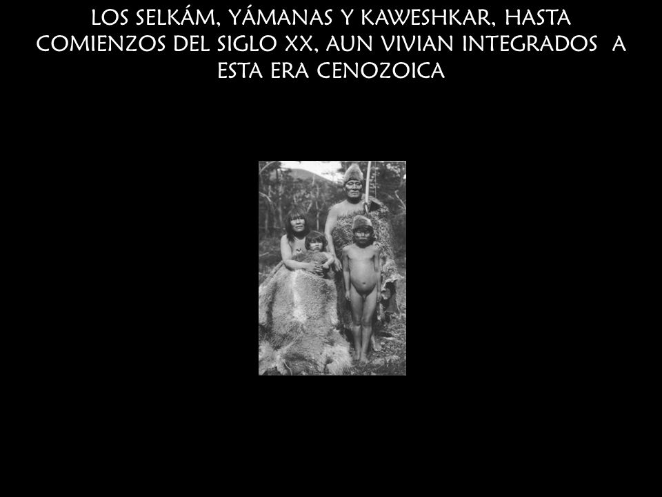 LOS SELKÁM, YÁMANAS Y KAWESHKAR, HASTA COMIENZOS DEL SIGLO XX, AUN VIVIAN INTEGRADOS A ESTA ERA CENOZOICA