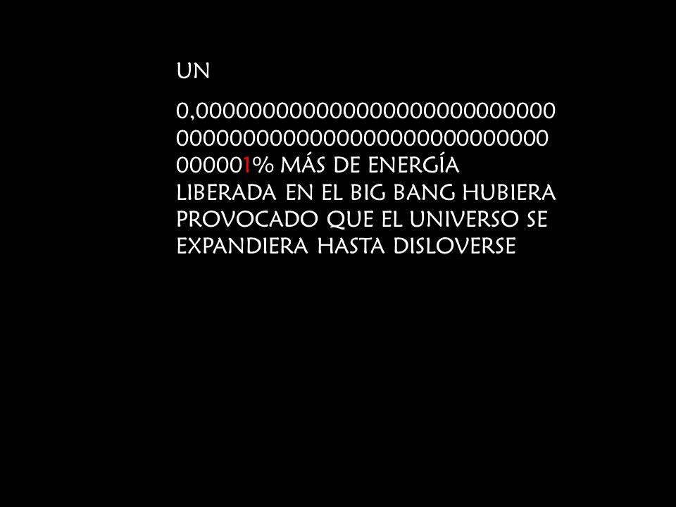 UN 0,000000000000000000000000000 0000000000000000000000000000 000001% MÁS DE ENERGÍA LIBERADA EN EL BIG BANG HUBIERA PROVOCADO QUE EL UNIVERSO SE EXPA