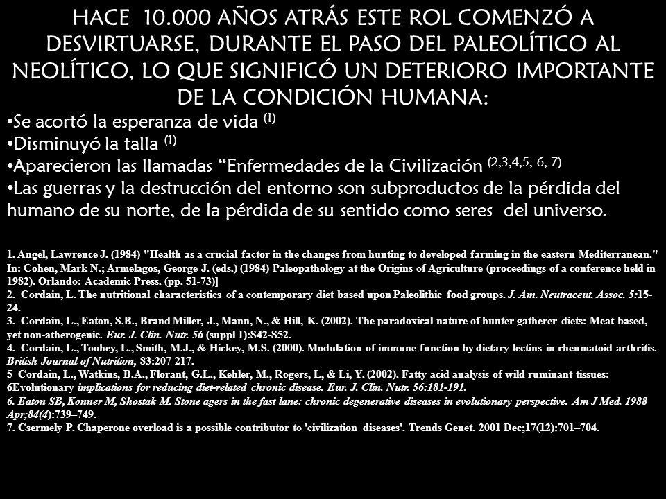 HACE 10.000 AÑOS ATRÁS ESTE ROL COMENZÓ A DESVIRTUARSE, DURANTE EL PASO DEL PALEOLÍTICO AL NEOLÍTICO, LO QUE SIGNIFICÓ UN DETERIORO IMPORTANTE DE LA C
