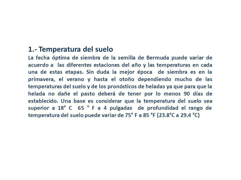 1.- Temperatura del suelo La fecha óptima de siembra de la semilla de Bermuda puede variar de acuerdo a las diferentes estaciones del año y las temper