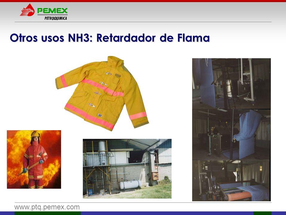 www.ptq.pemex.com Otros usos NH3: Retardador de Flama