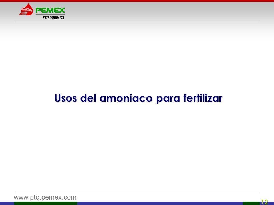 www.ptq.pemex.com 12 Usos del amoniaco para fertilizar