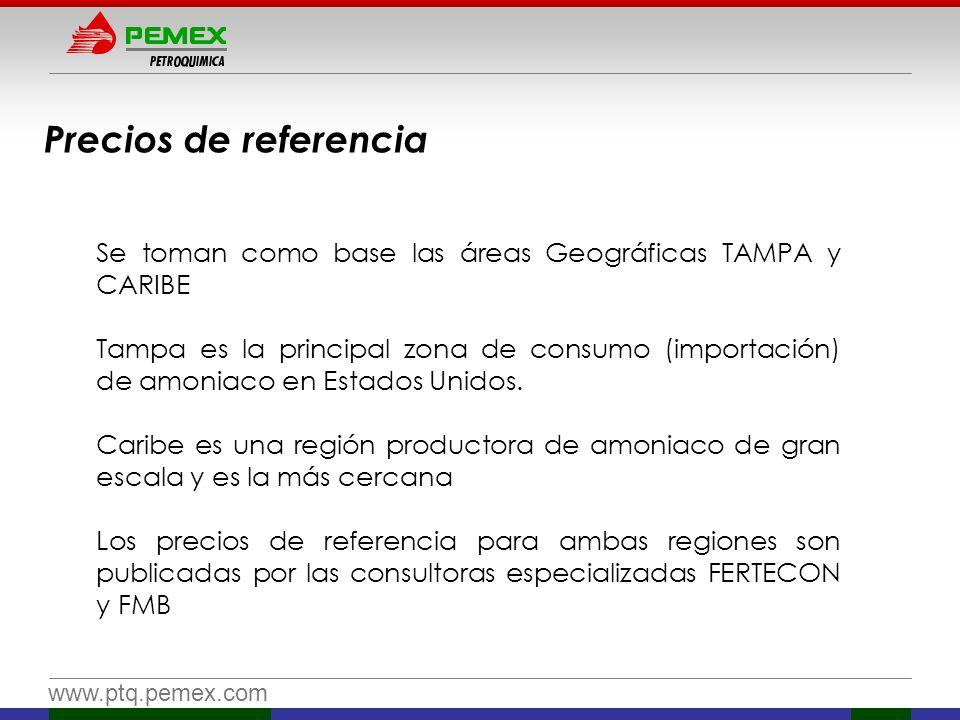 www.ptq.pemex.com Precios de referencia Se toman como base las áreas Geográficas TAMPA y CARIBE Tampa es la principal zona de consumo (importación) de